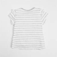 女婴卡通字母T恤 2018纯棉条纹木耳边短袖上衣