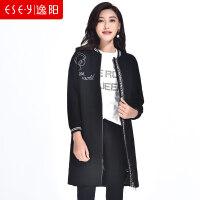 中长款羊毛呢子大衣外套拉链字母时尚直筒2018秋冬新款女装厚1959