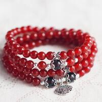 天然红玛瑙多圈手链女饰品 多层水晶手串送女友礼品 6mm