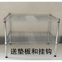 厨房用品置物架2层不锈钢色储物架微波炉架两层多功能金属收纳架