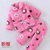 秋冬季儿童法兰绒睡衣夹棉加厚款珊瑚绒男童女童宝宝小孩男孩套装