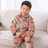 冬季秋冬季�和�加厚法�m�q睡衣男童女童小孩����保暖家居服珊瑚�q套�b秋冬新款