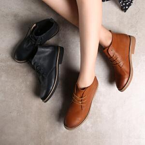 青婉田新款英伦风女真皮靴子文艺复古马丁靴女短靴女春单靴平底