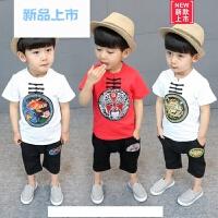儿童唐装夏季男童套装中国风复古民族风表演刺绣短袖宝宝汉服童装