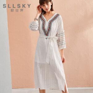 熙世界2018年夏季新品长裙V领绣花七分袖两件套连衣裙112LL017