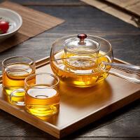 汉馨堂 玻璃煮茶壶 带茶滤加厚花茶壶鸡翅木玻璃侧把功夫茶具耐高温泡茶壶