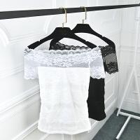 2018夏季新款蕾丝一字领修身上衣T恤女短袖韩版百搭漏肩体恤女装