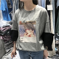 韩国学院风长袖套头减龄休闲显瘦宽松印花T恤Z