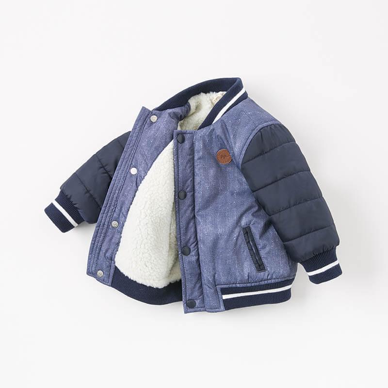 [3折价:90]夹棉加厚戴维贝拉冬季男童棉服宝宝棉衣DB8820 羊羔绒内里 御寒保暖 袖里内衬方便穿脱