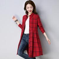 春装新款韩版女装格子长袖连衣裙宽松气质显瘦中长款衬衫裙子