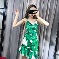 2018泰国潮牌性感椰树印花露肩吊带裙不规则修身鱼尾连衣裙