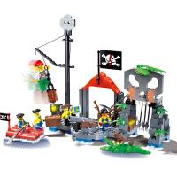 儿童启蒙积木塑料组装男孩智力玩具加勒比海盗船系列