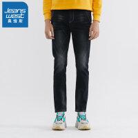 真维斯牛仔裤男2019冬季新品黑色水洗裤子修身原宿风韩版牛仔长裤
