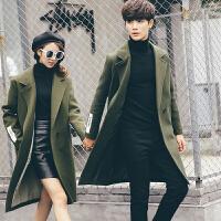 新款2018秋冬装毛呢大衣韩版宽松情侣外套男女中长款英伦呢子风衣