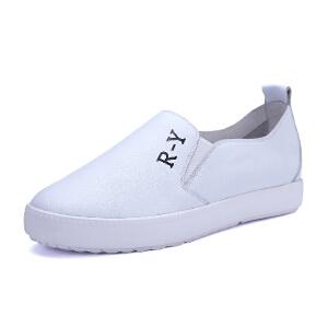【17新品】阿么牛皮平底套脚懒人鞋里外小白鞋单鞋女*
