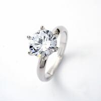 -1克拉仿真钻戒大钻石结婚戒指银饰镀白金男女求婚锆石情侣对戒