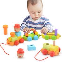 幼儿童木质小火车女宝宝力拖拉玩具男孩积木绕珠6个月1-2-3岁