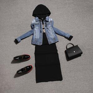 【超级品牌日!下单立减100!】2018秋装新款时尚女装牛仔外套卫衣裙子连衣裙两件套时髦套装欧货