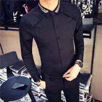 新款18秋冬男装韩版修身领部绣花长袖衬衫潮流青少年烫休闲衬衣