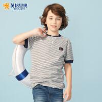 【两件1.3折价:30.4元】2018夏装新款男童纯棉短袖圆领T恤中大童休闲儿童大码条纹打底衫
