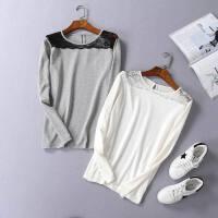 春款女装长袖打底衫 圆领蕾丝拼接宽松简约纯色柔软舒适T恤衫Q34