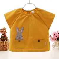 新款短袖儿童罩衣宝宝画画衣婴儿反穿衣无袖