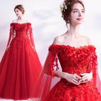 光芒耀眼 仙仙玫瑰 红色新娘披纱长袖婚纱礼服结婚敬酒服 红色