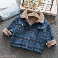冬季男童羊羔绒外套秋冬保暖韩版儿童加绒毛呢夹克宝宝加厚洋气上衣潮秋冬新款 蓝色 80cm