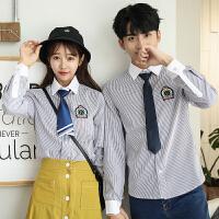 新款秋季条纹长袖衬衫男女情侣装学生班服徽章学院风衬衣工装寸衫