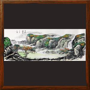 1.8米山水画《依山傍水》实力画家松涛 边秀后R2673