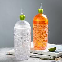 汉馨堂 塑料杯 夏日碎冰杯女学生韩版便携水杯双层创意潮流冰酷杯