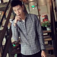 青少年学生格子衬衫男长袖修身寸衫衣服韩版休闲2018春季衬衫bbb
