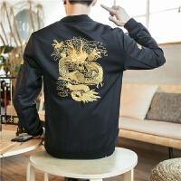 新款2018秋装复古中国风时尚休闲文玩青年刺绣男装夹克外套