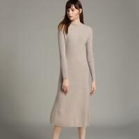 山羊绒衫中长款半高领过膝超长款连衣裙套头毛衣