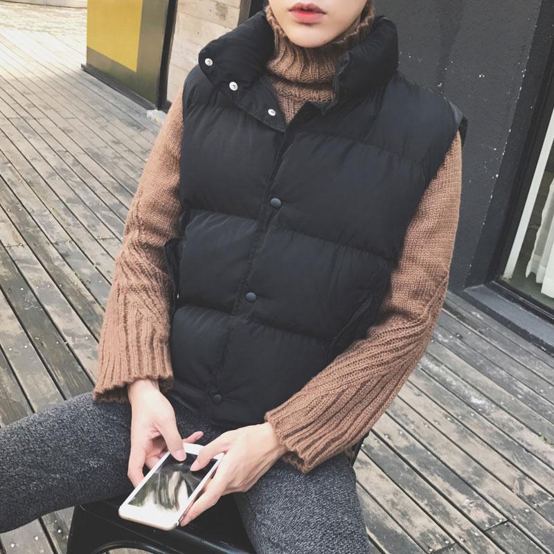 棉袄男无袖棉衣男装新款韩版修身加厚男生面包服秋冬装马甲棉服男