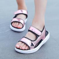 儿童凉鞋 女童平底柔软透气时尚儿童沙滩鞋夏季新款韩版魔术贴中大童学生童鞋子