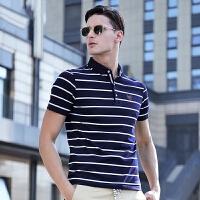 2018夏季新款半袖男装上衣纯棉爸爸短袖男士t恤衬衫领POLO衫体恤