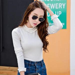 春装新款韩版打底衫女装长袖T恤白色修身显瘦百搭高领T恤衫潮