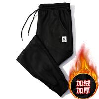 两条装 裤子男秋冬加绒加厚保暖运动裤男裤子加绒男裤弹力休闲裤