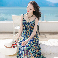 夏季新款女装吊带裙子无袖雪纺连衣裙长裙波西米亚海边度假沙滩裙 图片色 XZA232