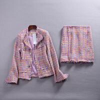 C0L@21 1.3斤2018秋冬新韩版粗花呢外套粗花呢半身裙两件套YQ