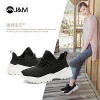 jm快乐玛丽秋季新款潮平底系带弹力袜鞋厚底运动鞋女鞋
