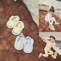 西西家儿童冬季毛毛棉鞋包跟棉拖鞋女童可爱小老鼠保暖室内家居鞋