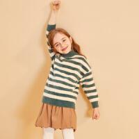 【2件3折:89】巴拉巴拉旗下巴帝巴帝女童毛衣2019年秋冬中大童儿童撞色条纹舒适毛衫