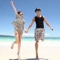 新款情侣沙滩装沙滩裤黑白格钢托聚拢温泉泳衣女蜜月装