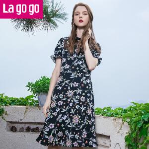 Lagogo拉谷谷2017年夏季新款时尚荷叶袖系带领口印花连衣裙女!
