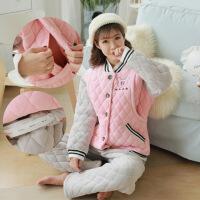 冬天月子服珊瑚绒加厚加绒夹棉孕妇睡衣秋冬款产后哺乳期喂奶睡衣