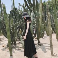 连衣裙女夏2018新款抖音同款韩版冷淡风及踝学生黑色抹胸吊带长裙 黑色 升级版