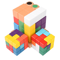 七粒索玛立方体儿童解压玩具木制俄罗斯方块立体七巧板