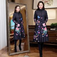 中国风棉衣女中长款冬季复古印花过膝民族风棉袄